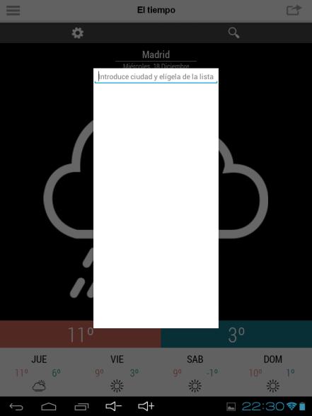 Información meteorológica en la aplicación para Android de Elmundo.es