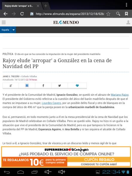 Noticia en la versión móvil de Elmundo.es