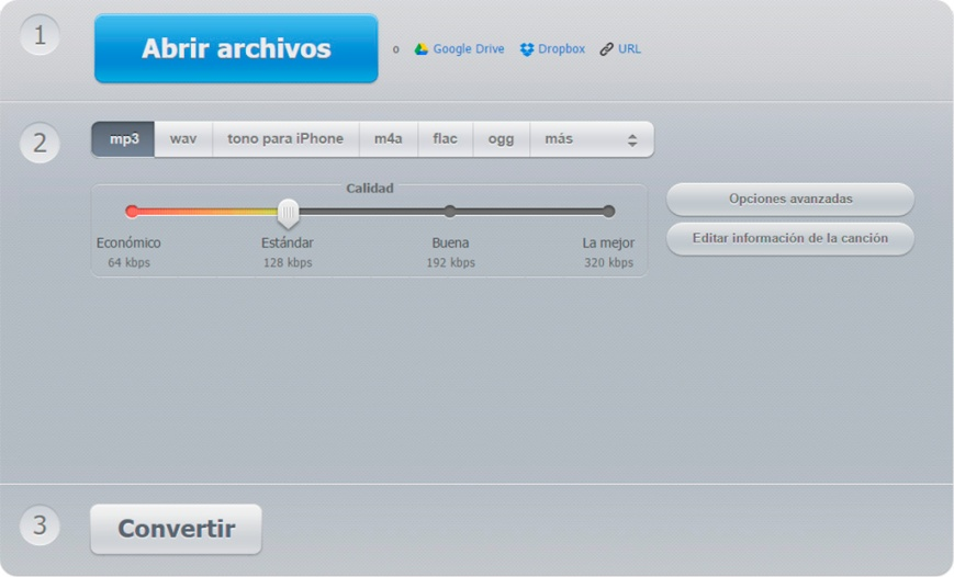 Interfaz de Online-audio-converter